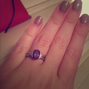 Jewelry - 14k white gold created alexandrite/diamond ring